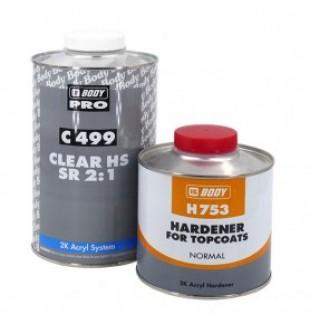 Akrilinis lakas BODY 499 HS Clear Coat 1l 2+1 su kietikliu (komplektas)